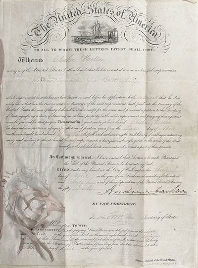 1835. Original patent executed and signed by Andrew Jackson as President of the United States. Two f...