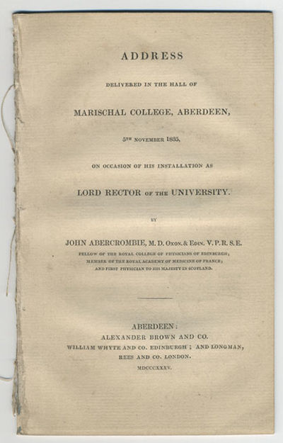 Aberdeen: Alexander Brown & Co., 1835. 8vo. 29, pp.  NSTC 2A1167. Removed from a non...