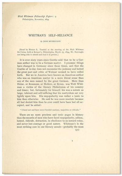Philadelphia: Walt Whitman Fellowship Papers: 9, 1894. pp. 51-58. Quarto. Sewn printed self-wrapper,...