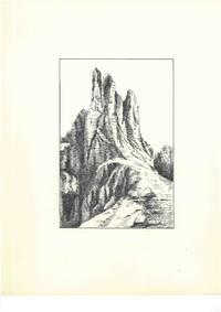 Ohne Titel [Dolomiten, Rosengarten, Vajolettürme, Südtirol, Italien (Torri del Vajolet, Dolomiti, Catinaccio, Alto Adige, Italia)], ca. 1950. Schwarze Tusche und Bleistift auf weißem Karton.