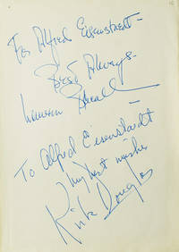 Autograph Inscriptions Signed (Best Always, Lauren Bacall and to Alfred Eisenstaed / my best wishes/ Kirk Douglas) to LIFE photographer ALFRED EISENSTAEDT