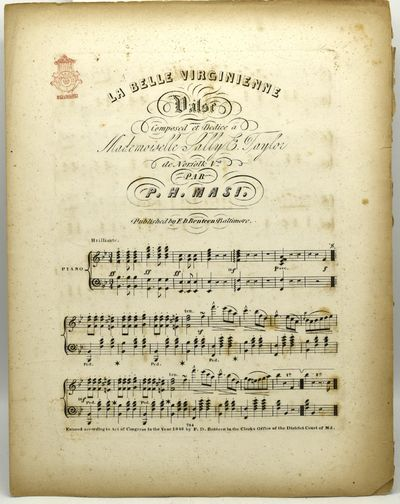 Baltimore: F. D. Benteen, 1846. Soft Cover. Very Good binding. Three pages of sheet music without te...