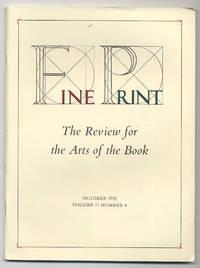 image of Fine Print: Volume 11, Number 4, October, 1985