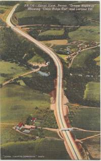 Aerial View, Penna Dream Highway, showing clear ridge cut, unused linen Postcard