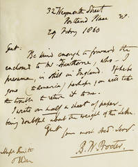 """Autograph Letter, signed, 1 page. To his Publisher Smith. Elder & Co. asking them to """"forward the enclosed to Mr. (Nathaniel) Hawthorne, who-I presume is still in England. If he be gone (to America) perhaps you will take the trouble to return it to me."""""""