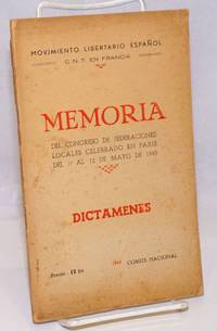 image of Memoria del Congreso de Federaciones Locales celebrado en Paris del 1.o al 12 de Mayo de 1945, dictamenes