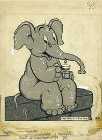 """image of Pink Elephant, Mockup of cartoon character for Comic Strip, """"Happy the Humbug"""""""