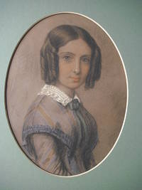 ORIGINAL PASTEL PORTRAIT, in colours, Half Length, when young, in blue and grey striped dress,...