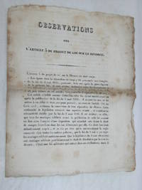 OBSERVATIONS sur l'article 5 du projet de loi sur le divorce.