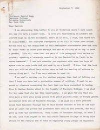 TYPED LETTER TO HAROLD RUGG OF COLUMBIA UNIVERSITY'S TEACHERS COLLEGE SIGNED BY HARRY A. BROWN, SUPERINTENDENT OF SCHOOLS, NEEDHAM, MASS.