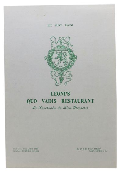 (London), 1950. 1st Printing. Gray card stock, green and red lettering. Light yellow slip, also with...