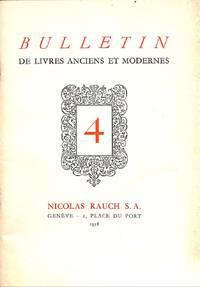 Livres Anciens et Modernes. Bulletin no. 4/1958.
