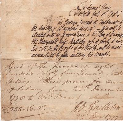 Revolutionary War Pay Slip for South...