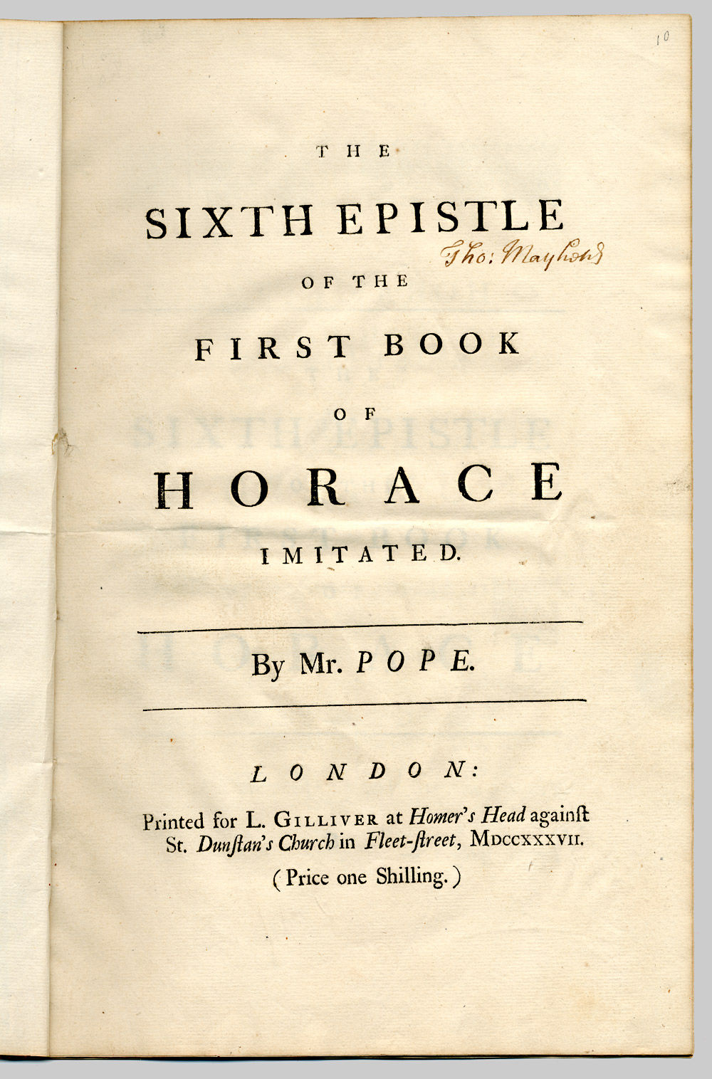 the first epistle of the second book of horace imitated Thus, or near this manner, was horace his art of poetry translated by ben  the  third way is that of imitation, where the translator (if now he has not lost that   see for example the first and second edition of brome's the poems of horace,.