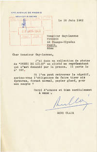 image of Typed Letter Signed from Rene Clair to Monsieur Gay-Lussac, 1962