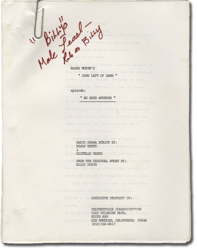 Los Angeles: Feathertouch Communications. Two screenplays for an unproduced radio drama. Each belong...