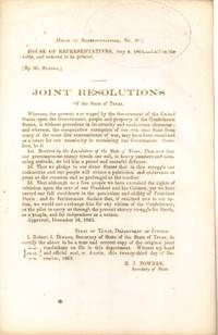 Joint Resolutions of the State of Texas (Confederate Imprint)