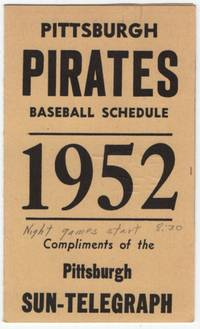 image of (Baseball Schedule): Pittsburgh Pirates Baseball Schedule 1952