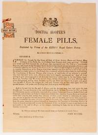 Advertisement for Doctor Hooper's Female Pills, Published by Virtue of the King's Royal Letters...