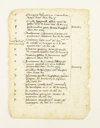 TEXT FROM A CLERICAL REGISTER by  OFFERED INDIVIDUALLY MANUSCRIPT LEAVES ON PAPER - 1370-85 [but see below] - from Phillip J. Pirages Fine Books and Medieval Manuscripts (SKU: ST15347)