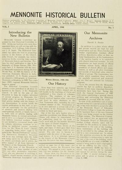 NP, n/d. Hardcover. g. 8vo. Unpaginated. Black cloth binding. Bound volume of the Mennonite Historic...