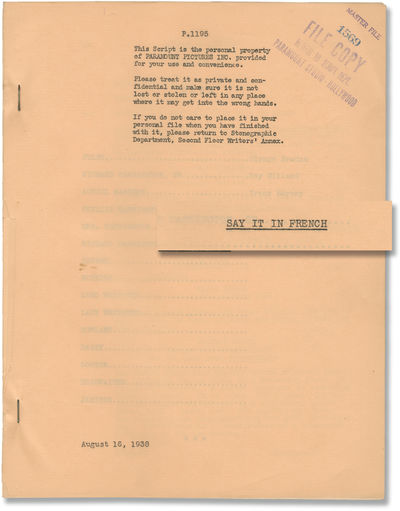 Los Angeles: Paramount Pictures, 1938. Draft script for the 1938 film. Paramount