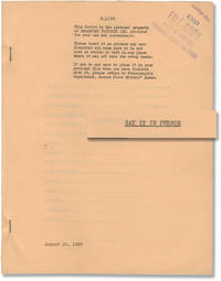 image of Say It in French (Original screenplay for the 1938 film)