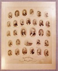 ALBUMEN PRINT OF THE PENNSYLVANIA DELEGATION OF THE FORTY-FOURTH CONGRESS. TWENTY-NINE OVAL, SHOULDER- LENGTH PORTRAITS OF THE MEMBERS OF THE DELEGATION WITH FACSIMILE SIGNATURES UNDER EACH AND A SMALL OVAL PICTURE OF THE UNITED STATES CAPITOL BUILDING