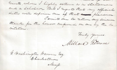 05/06/1850. Millard Fillmore This letter was at one time in the papers of George Washington Warren, ...