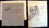 Original Art Ink Sketch By Charles H. Niehaus with a Hand-Drawn Ink Invitation to His Shop with Its Own Drawing