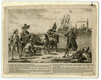 Allegorical print depicting European...