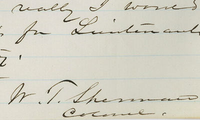 27/06/1861. William T. Sherman This letter has been in a private collection for generations and is o...