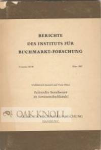 1967. paper wrappers. small 8vo. paper wrappers. 75 pages. In Berichte des Instituts für Buchmarkt-...