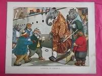 "ORIGINAL ANTIQUE COLOUR PLATE FROM ""THE ANIMALS' TOURING CLUB"". ""Landing in America"""