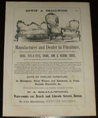 Original 1853 Vintage Full Page Illustrated Advertisement for Furniture  Manufacturer