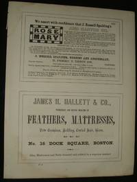 1853 Four 1/2 Page Advertisements for Textiles, Paper Dealer, Apothecary,  Bedding