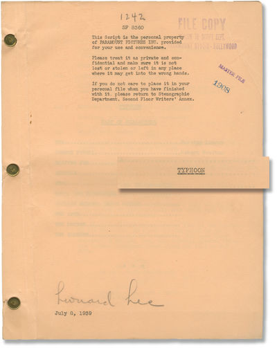Los Angeles: Paramount Pictures, 1939. Draft script for the 1940 film, with the name of uncredited s...
