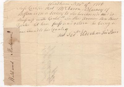 Revolutionary War Pass Allowing Aaron...