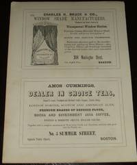 1853 Four 1/2 Page Ads for Window Shades, Tea Dealer, Wig Maker , Paper  Mill