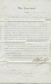 image of Offer to become a Cadet to West Point for Eckstein Case (1858-1944) of Carlyle, Illinois