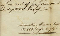 Meriwether Lewis's Original Receipt For His Pay For the Lewis and Clark Expedition An important document in American history, a powerful connection between Lewis and his mission, and a rare autograph of Lewis, whose famed Corps of Discovery opened the American West and set the course for continental expansion