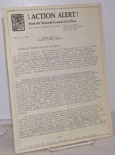Washington DC: National Council of La Raza, 1981. 8p., five 8.5x11 inch sheets stapled top-left corn...