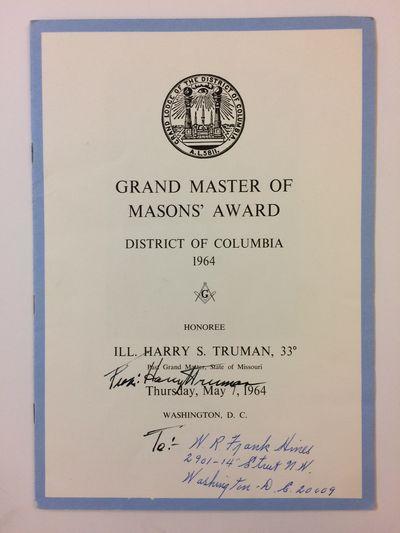 Washington, 1964. unbound. very good. Signed Masonic program: Grand Master of Mason's Award, Distric...