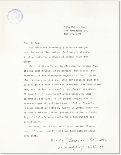 San Francisco, May 24, 1963. Original typed letter, signed, on single side of a sheet of white wove ...