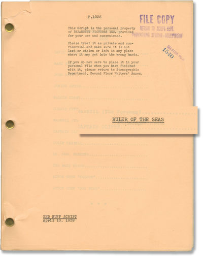 Los Angeles: Paramount Pictures, 1939. Second Buff script for the 1939 film, here under the working ...