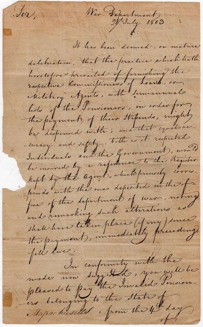 Secretary of War Henry Dearborn to...