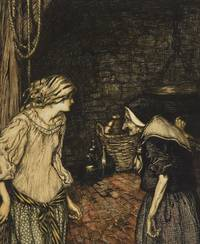 """""""At last she reached the cellar, and there she found an old, old woman with a shaking head"""", illustration from The Robber Bridegroom, Fairy Tales of the Brothers Grimm"""