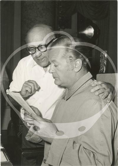 N.p.: N.p., 1959. Vintage borderless reference photograph of director Robert Siodmak and Curd Jurgen...