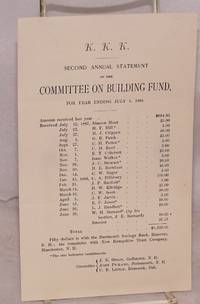 KKK Second annual statement of the Committee on Building Fund, for year ending July 1, 1888