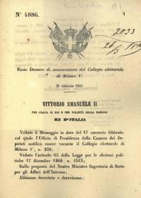 di convocazione del Collegio elettorale di Milano 1°.